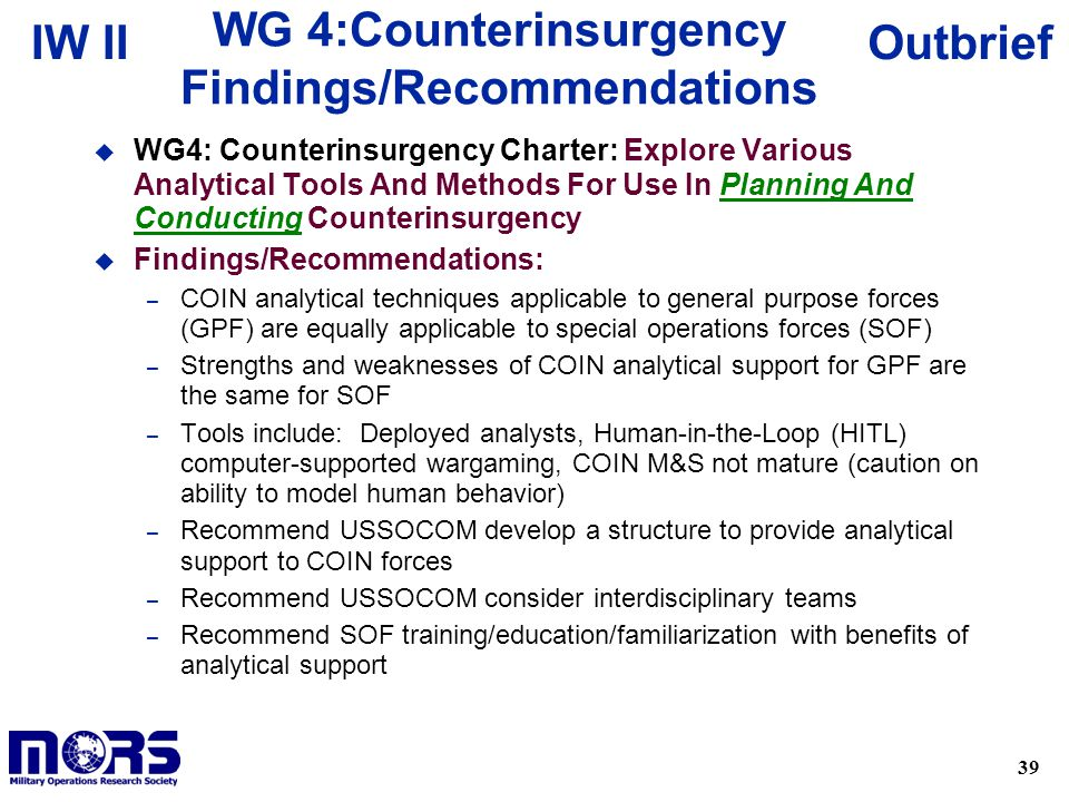 WG 4:Counterinsurgency Findings/Recommendations