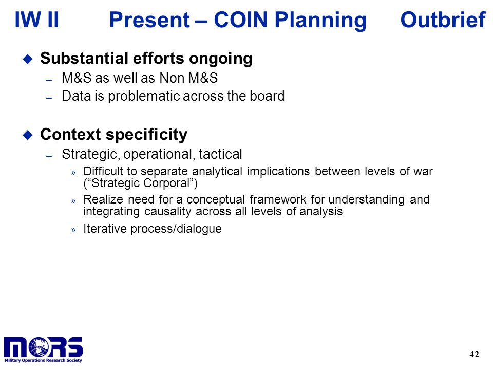 Present – COIN Planning