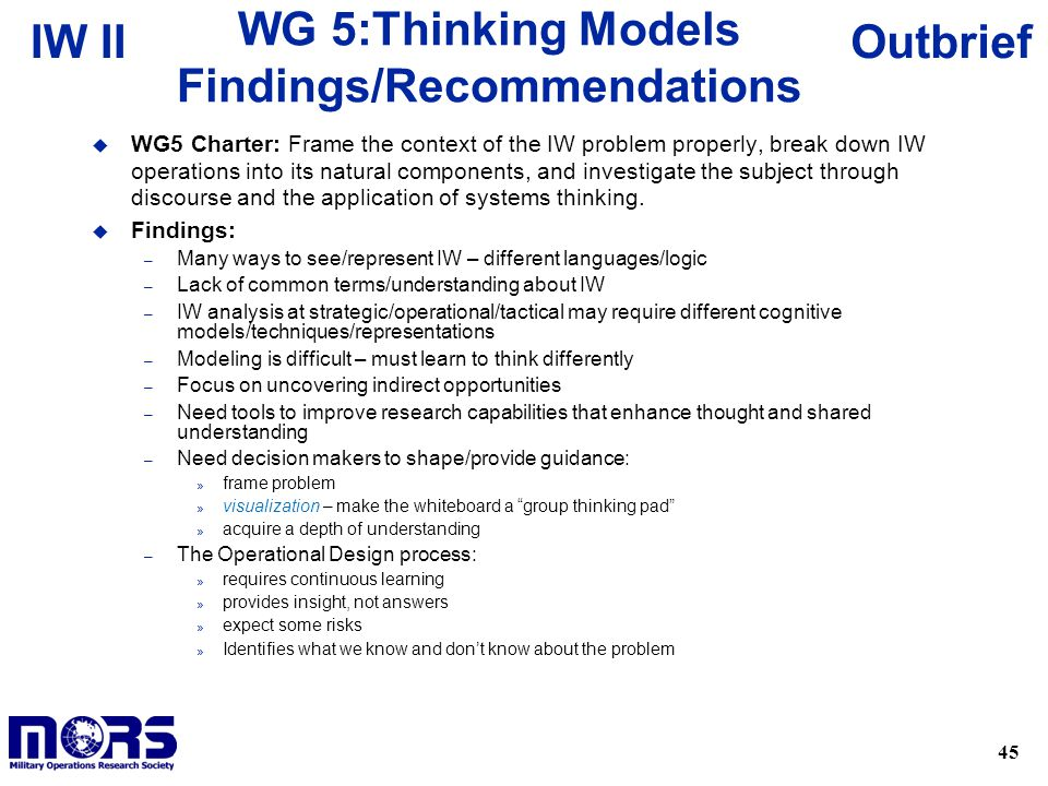 WG 5:Thinking Models Findings/Recommendations