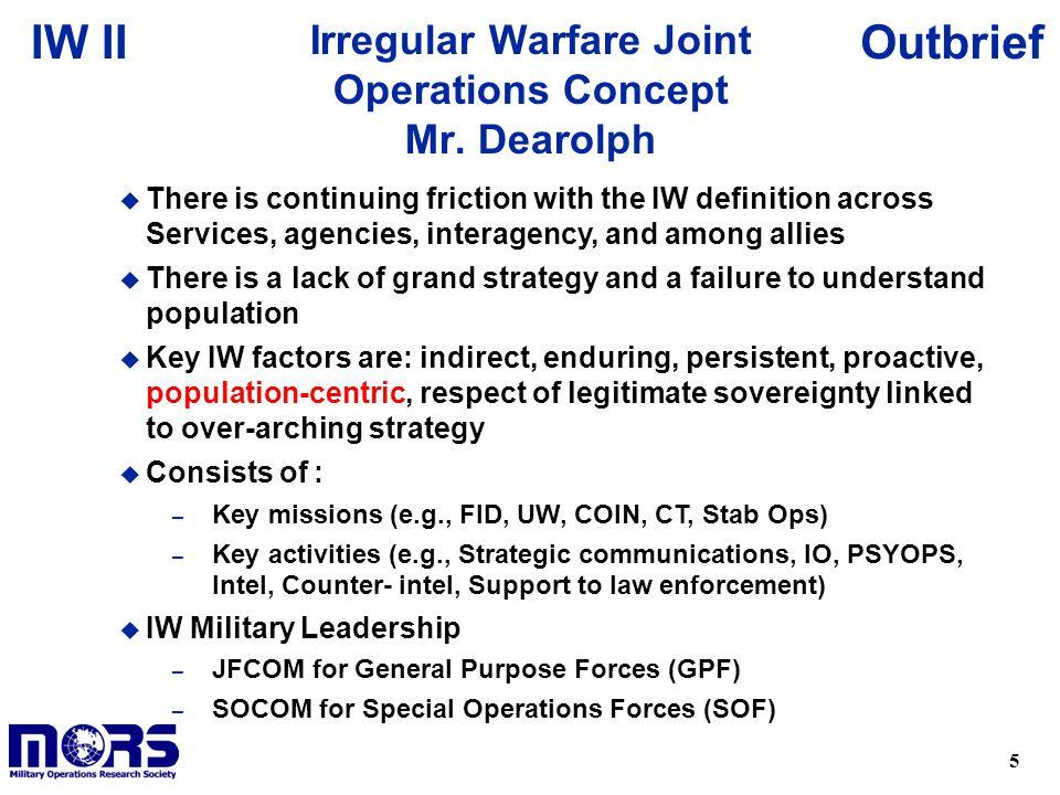 Irregular Warfare Joint Operations Concept Mr. Dearolph