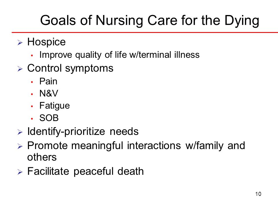 Goals of Nursing Care for the Dying