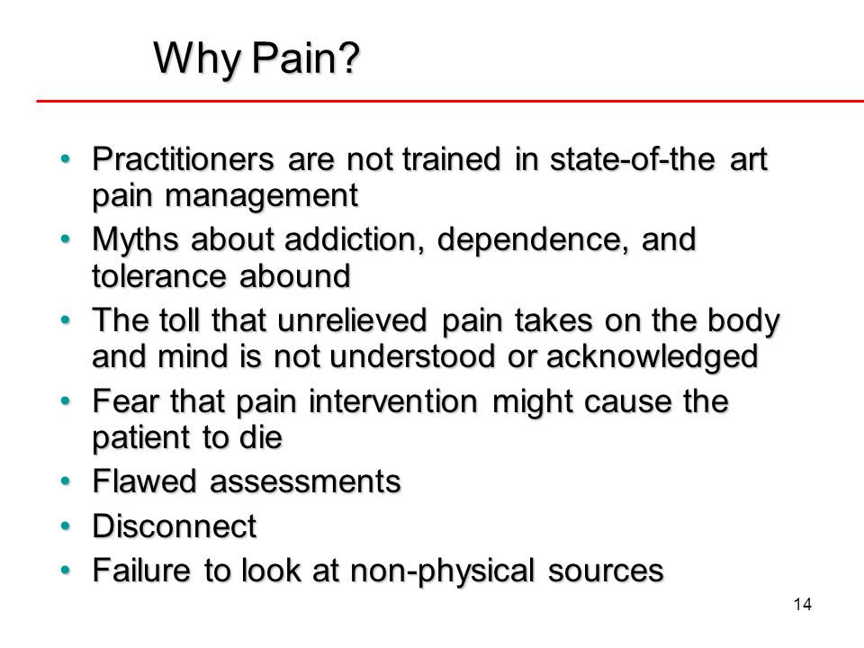 Why Pain Practitioners are not trained in state-of-the art pain management. Myths about addiction, dependence, and tolerance abound.