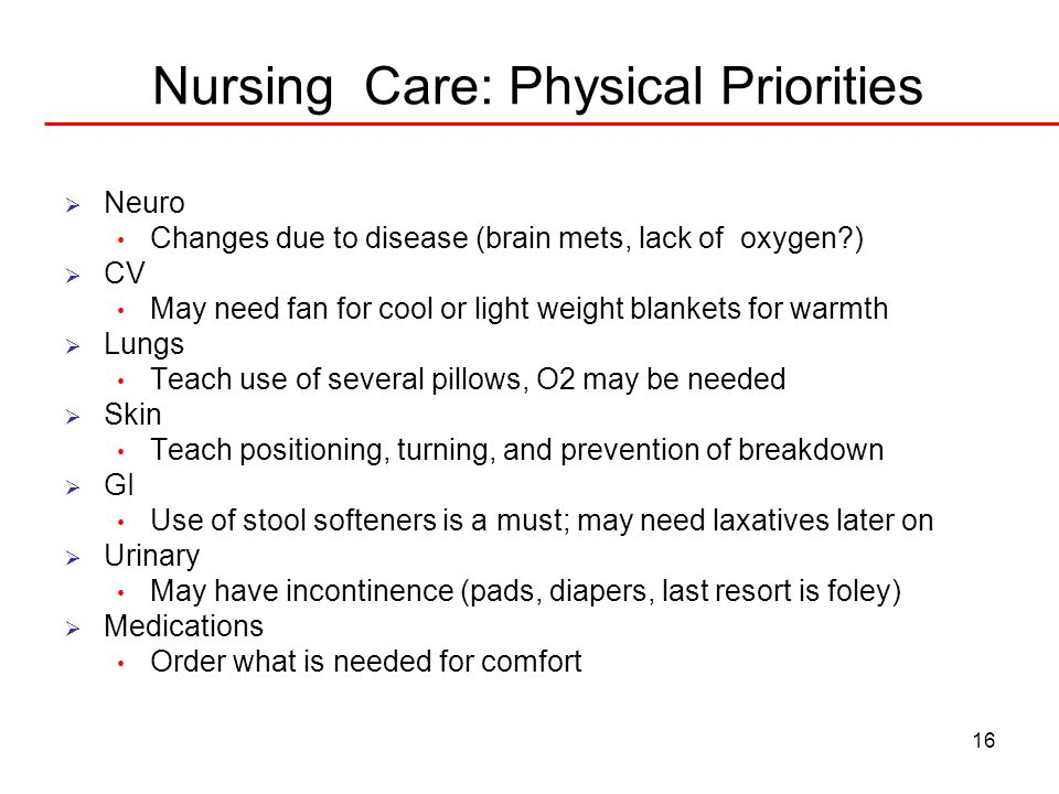Nursing Care: Physical Priorities
