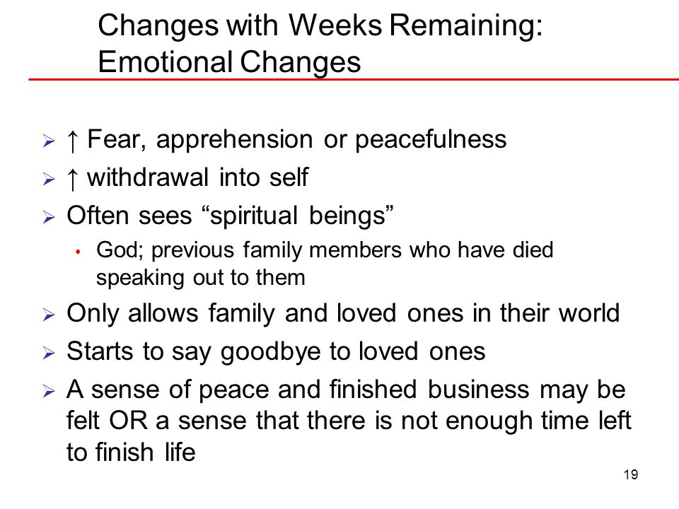 Changes with Weeks Remaining: Emotional Changes