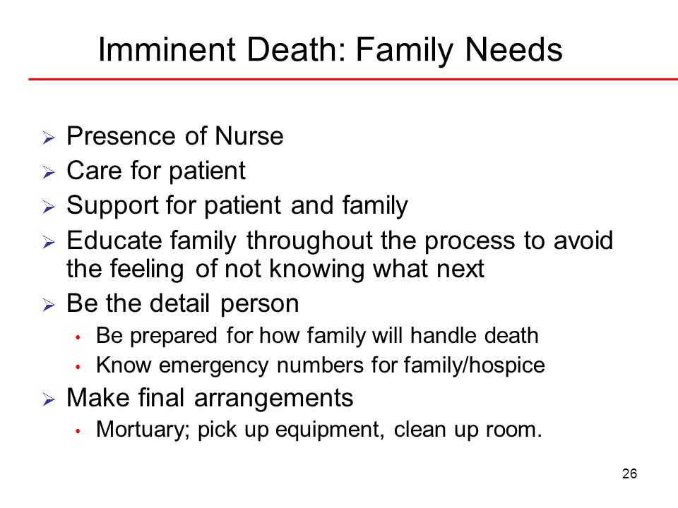 Imminent Death: Family Needs