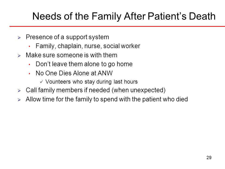 Needs of the Family After Patient's Death
