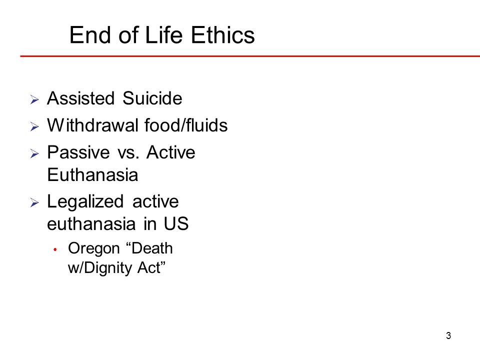 End of Life Ethics Assisted Suicide Withdrawal food/fluids