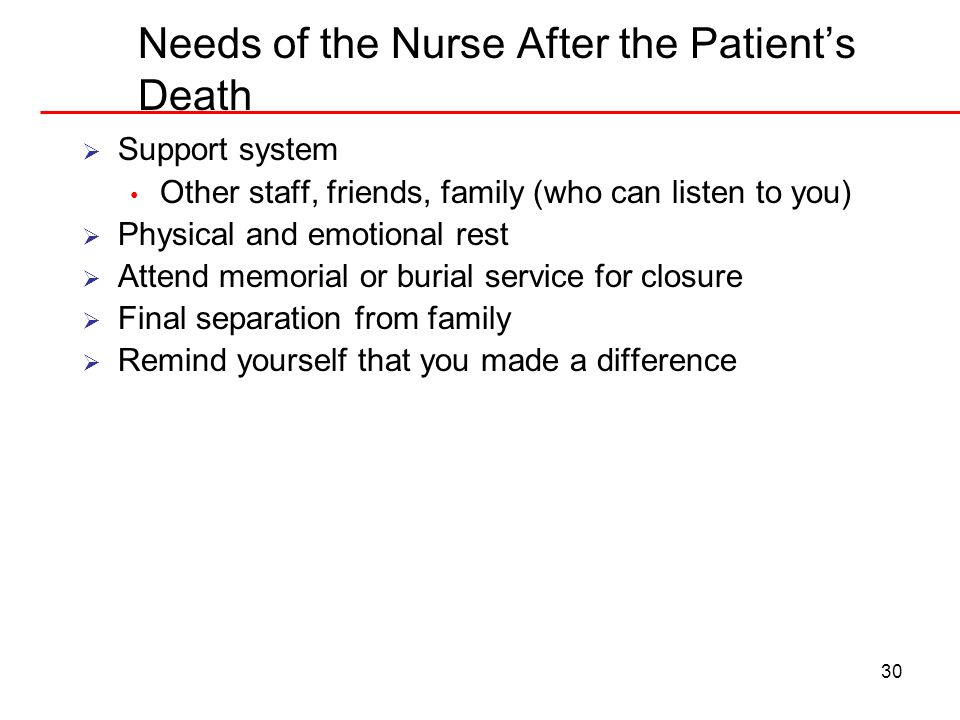 Needs of the Nurse After the Patient's Death