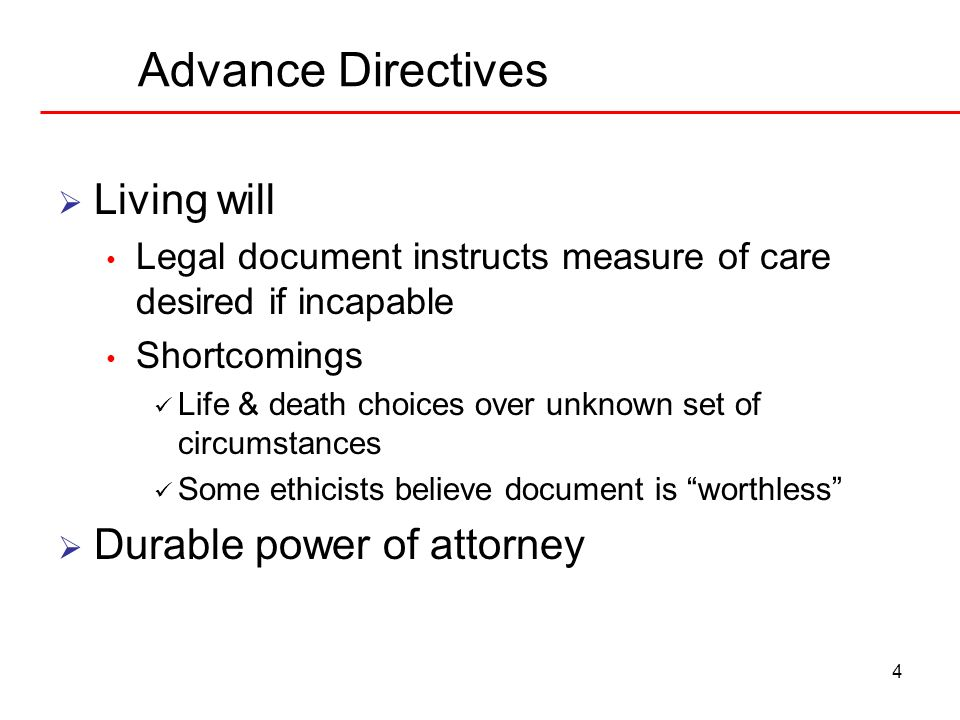 Advance Directives Living will Durable power of attorney