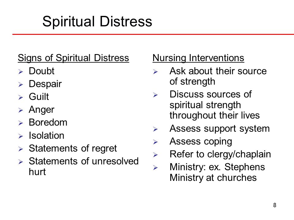Spiritual Distress Signs of Spiritual Distress Doubt Despair Guilt