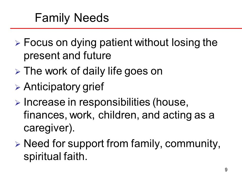 Family Needs Focus on dying patient without losing the present and future. The work of daily life goes on.