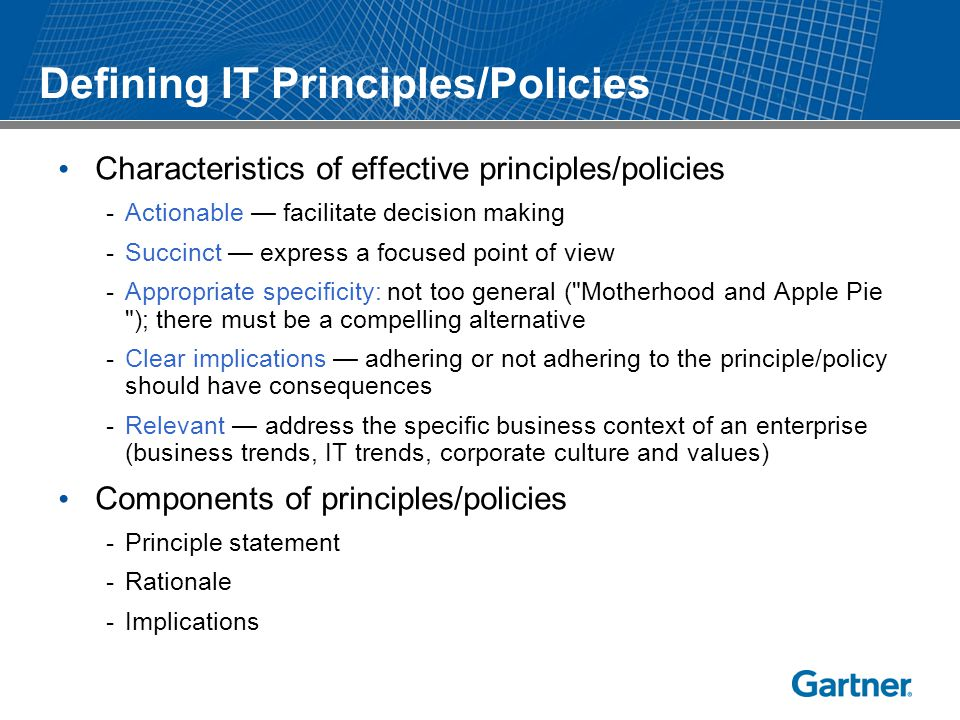 Defining IT Principles/Policies