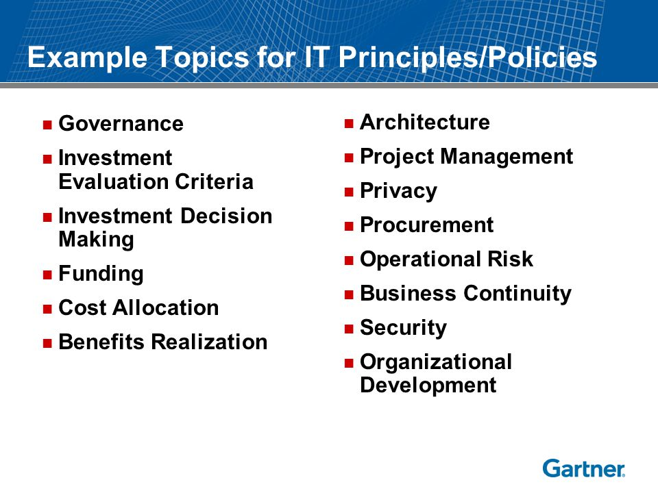 Example Topics for IT Principles/Policies