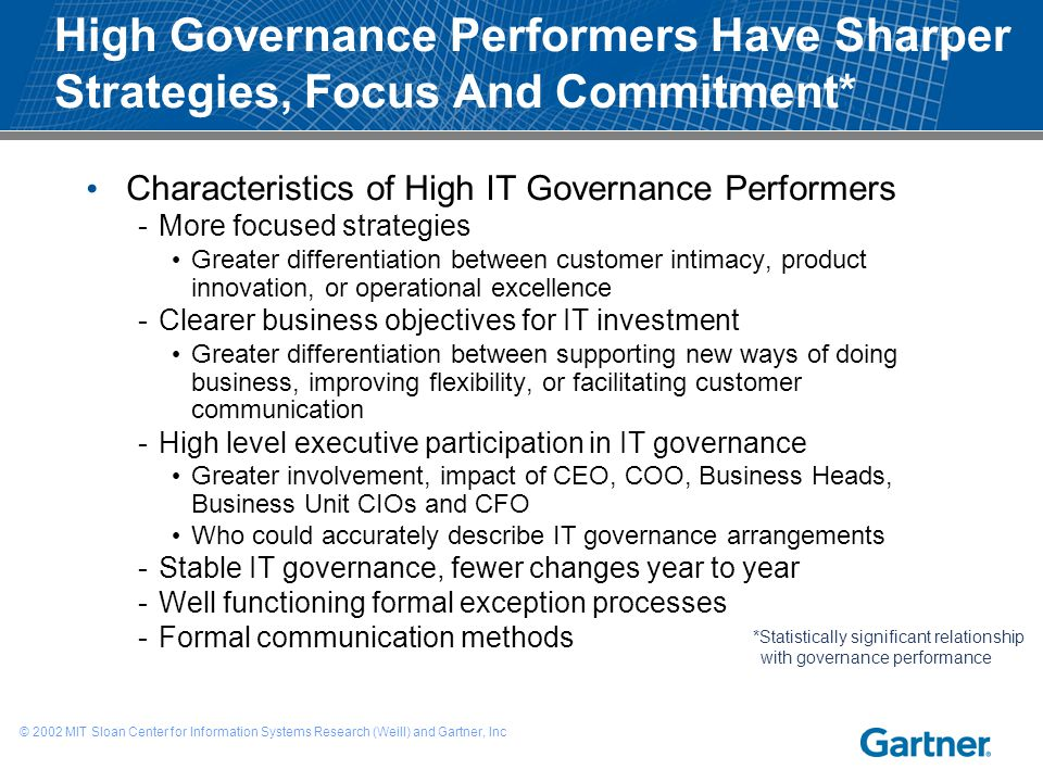 High Governance Performers Have Sharper Strategies, Focus And Commitment*