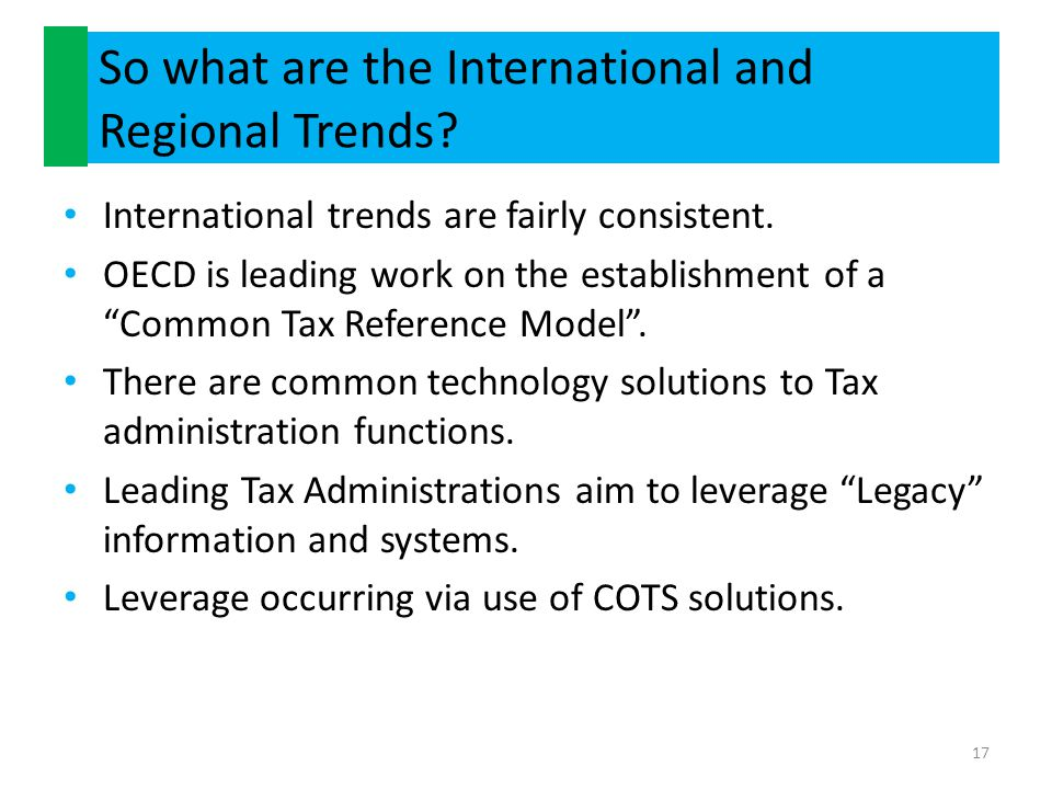 So what are the International and Regional Trends