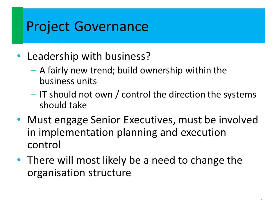 Project Governance Leadership with business