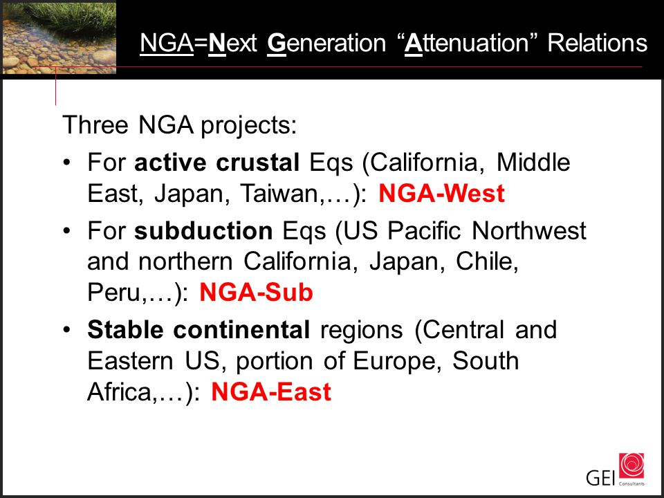 NGA=Next Generation Attenuation Relations