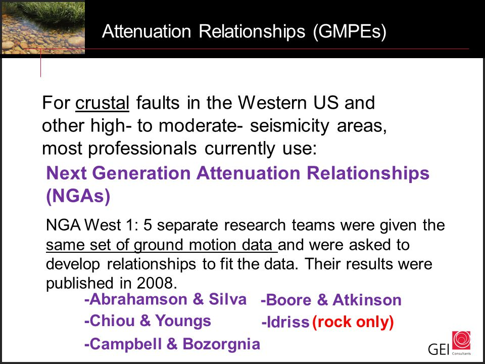Attenuation Relationships (GMPEs)