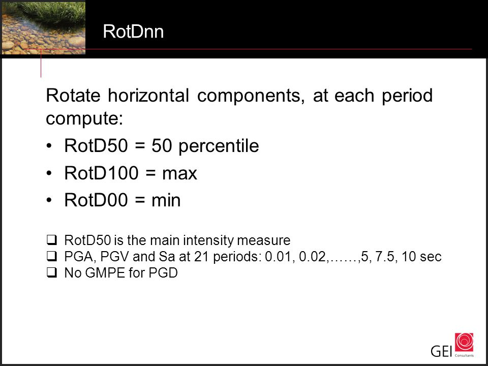 Rotate horizontal components, at each period compute: