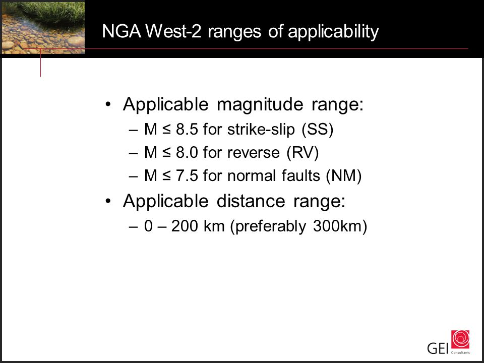 NGA West-2 ranges of applicability