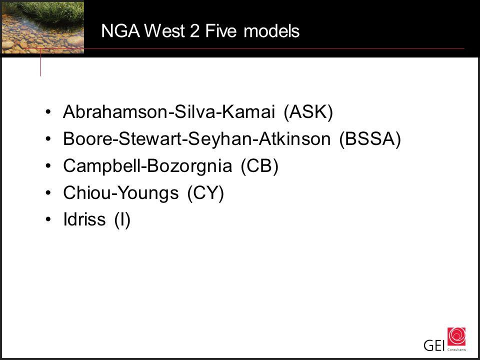 NGA West 2 Five models Abrahamson-Silva-Kamai (ASK) Boore-Stewart-Seyhan-Atkinson (BSSA) Campbell-Bozorgnia (CB)