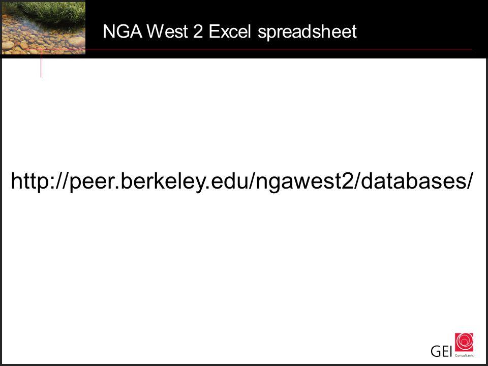 NGA West 2 Excel spreadsheet