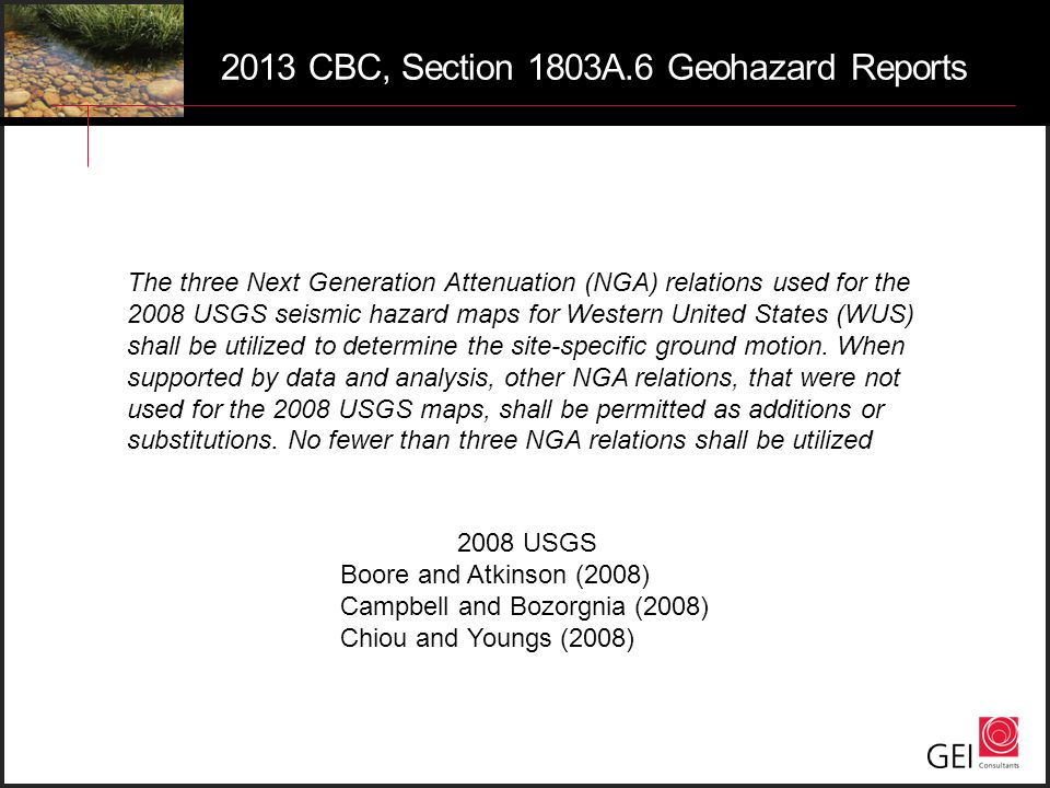 2013 CBC, Section 1803A.6 Geohazard Reports