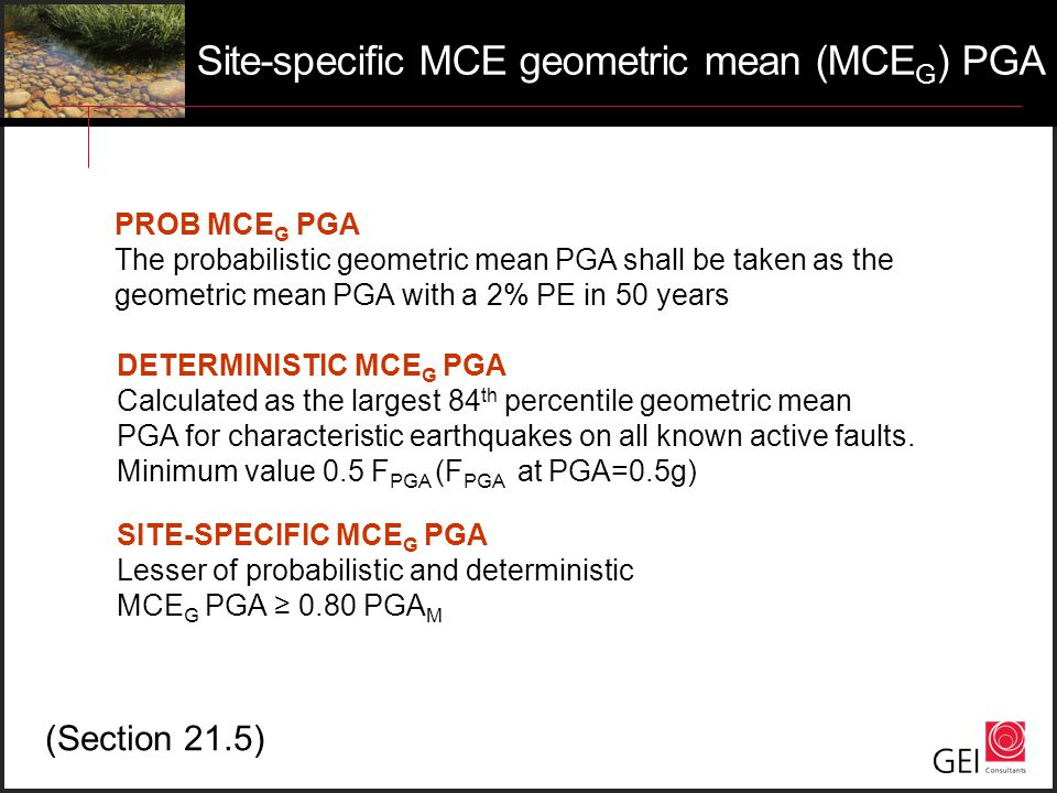 Site-specific MCE geometric mean (MCEG) PGA
