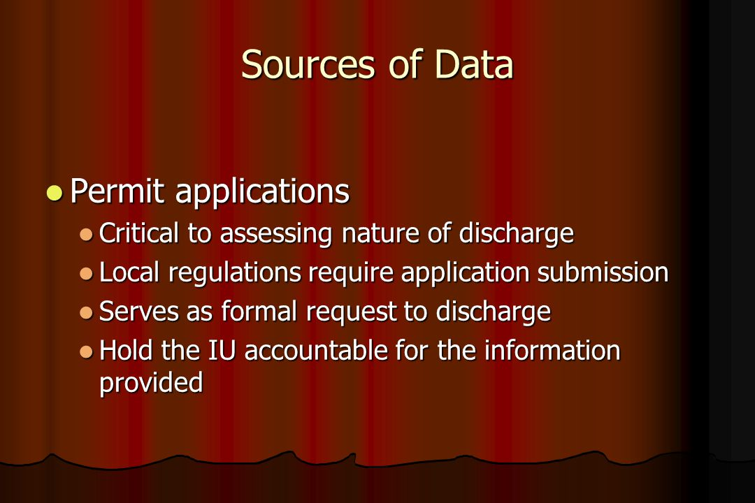 Sources of Data Permit applications