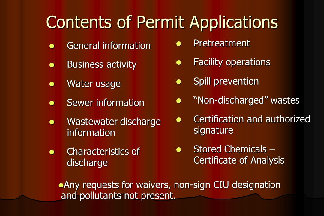 Contents of Permit Applications