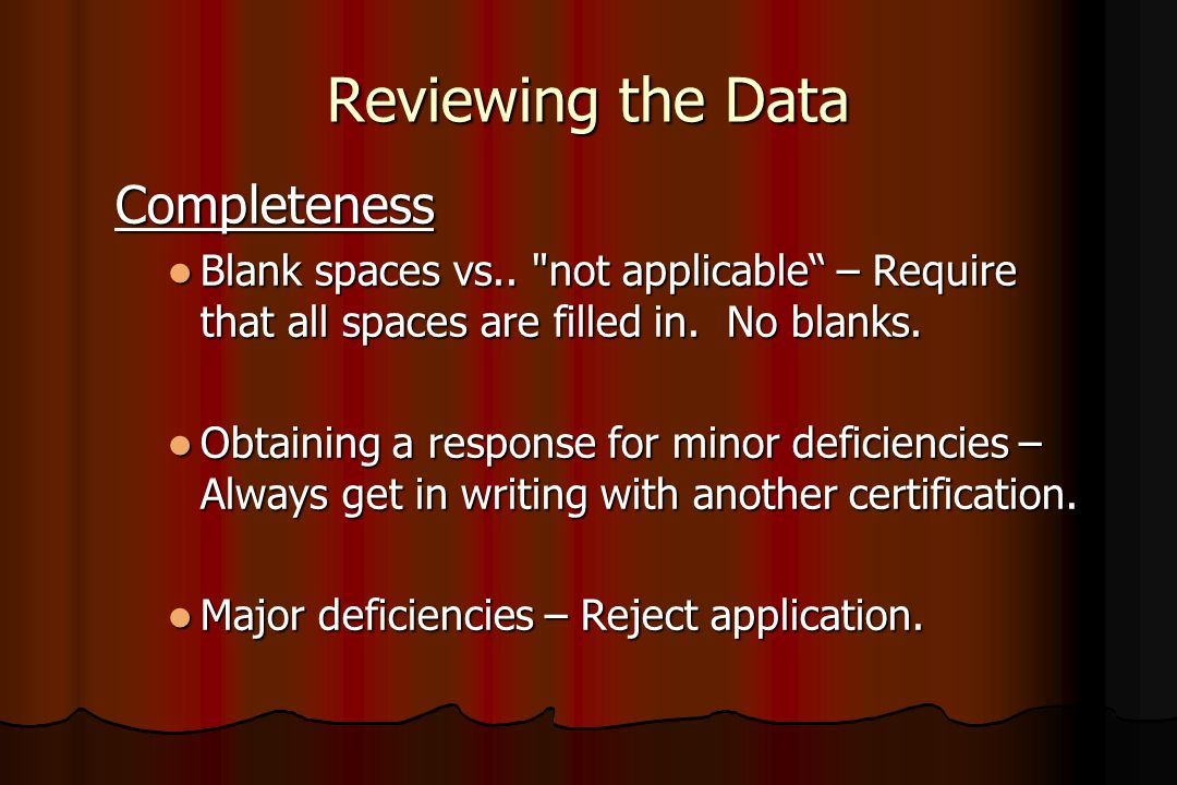Reviewing the Data Completeness