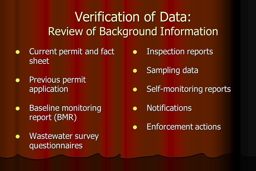 Verification of Data: Review of Background Information