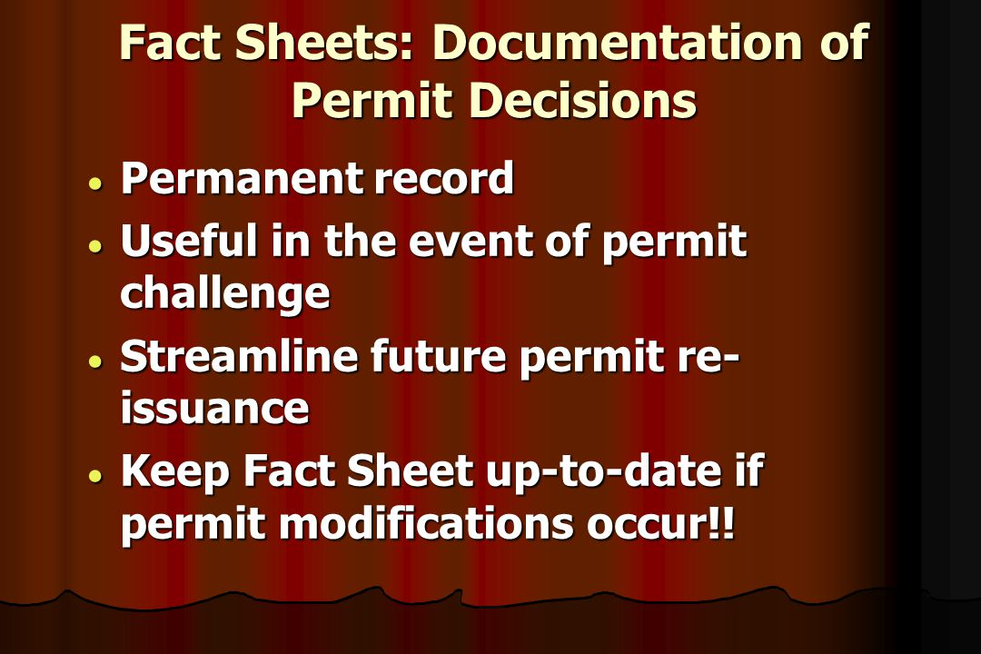 Fact Sheets: Documentation of Permit Decisions