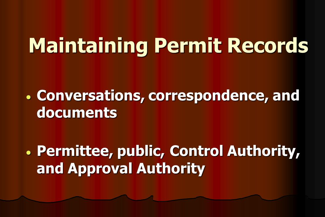 Maintaining Permit Records