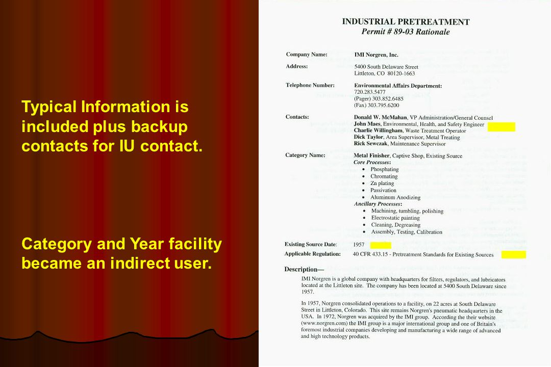 Typical Information is included plus backup contacts for IU contact.