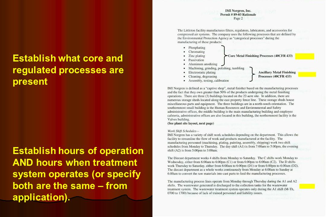 Establish what core and regulated processes are present