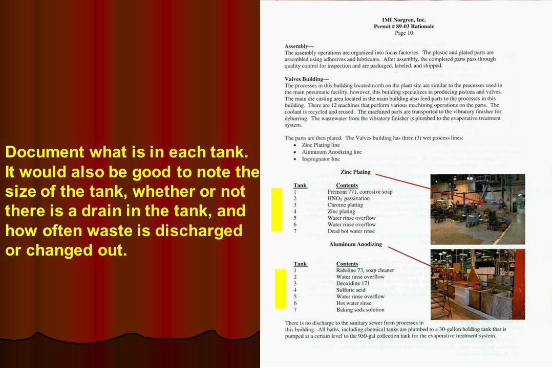 Document what is in each tank