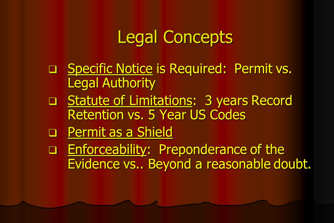 Legal Concepts Specific Notice is Required: Permit vs. Legal Authority