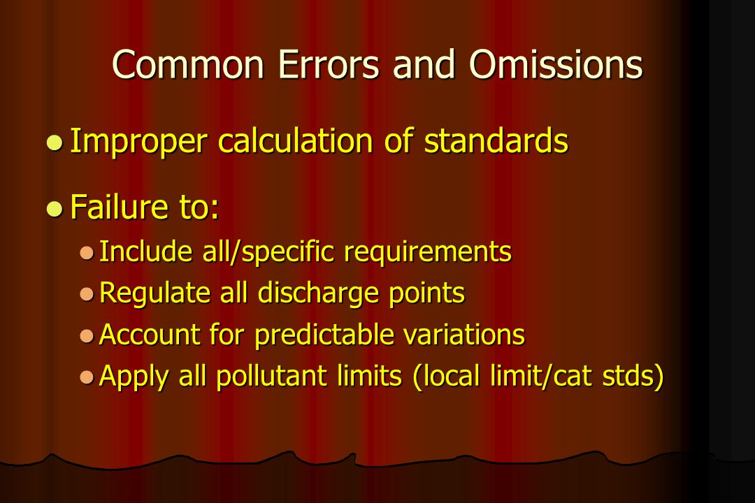 Common Errors and Omissions