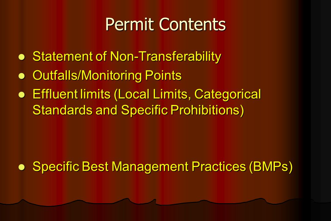 Permit Contents Statement of Non-Transferability