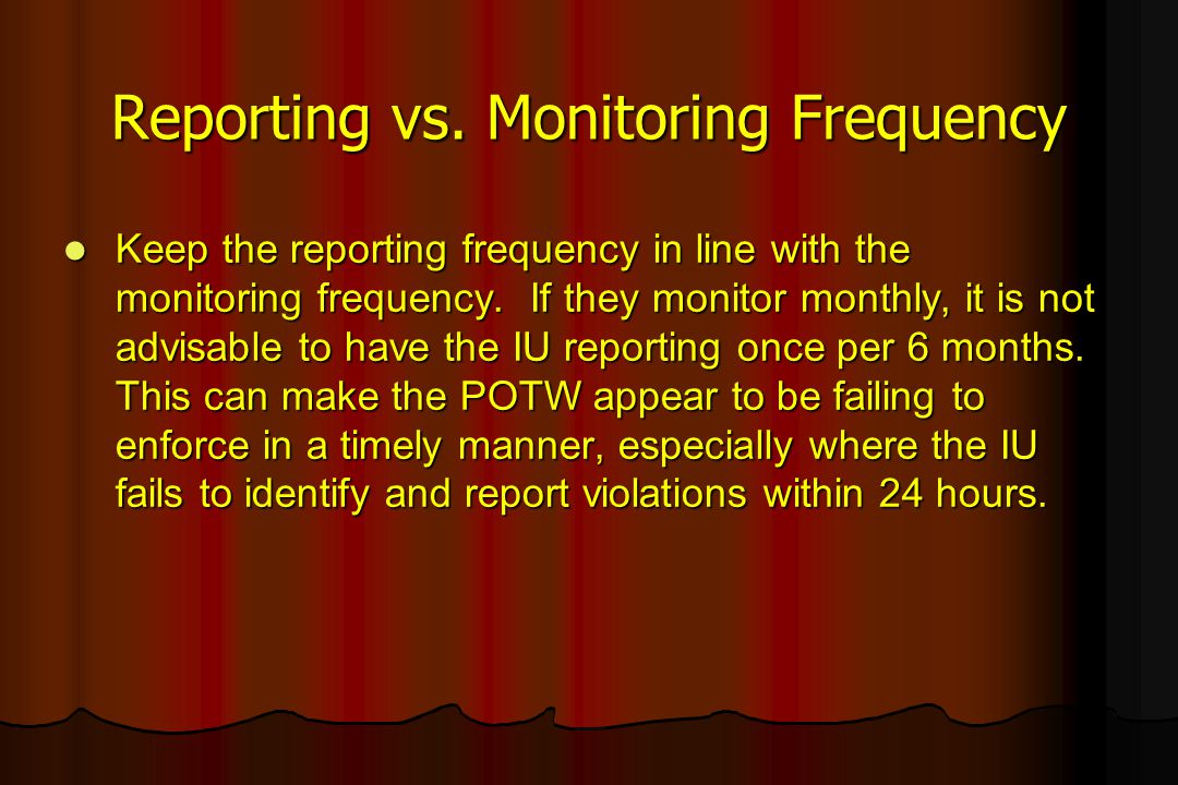 Reporting vs. Monitoring Frequency