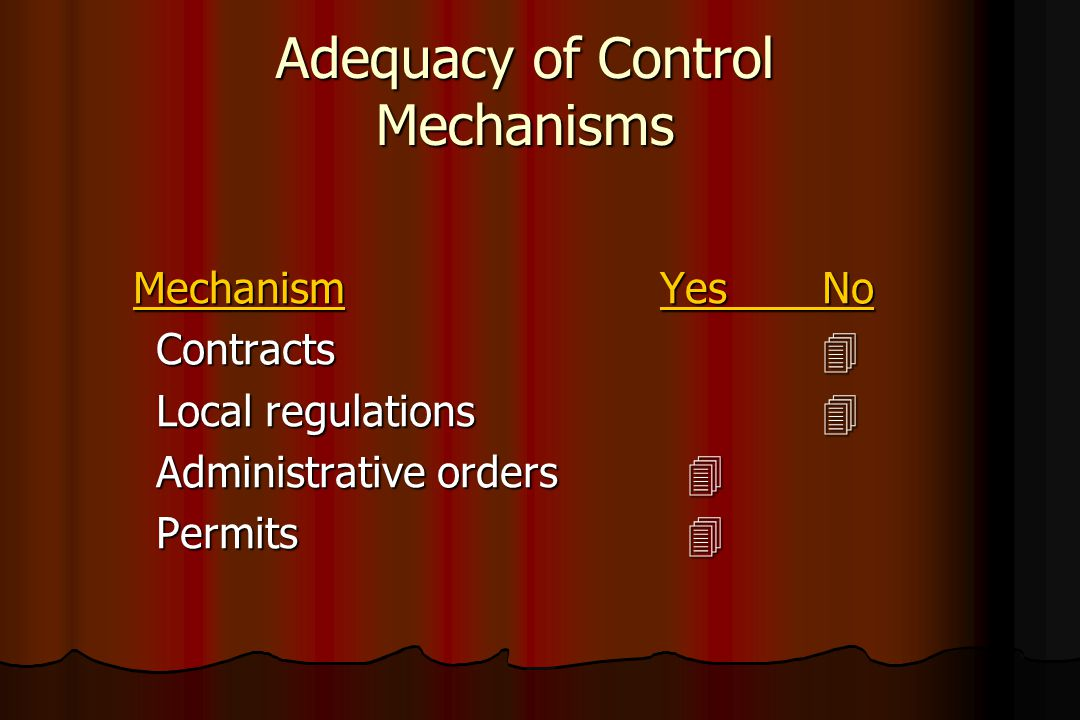 Adequacy of Control Mechanisms