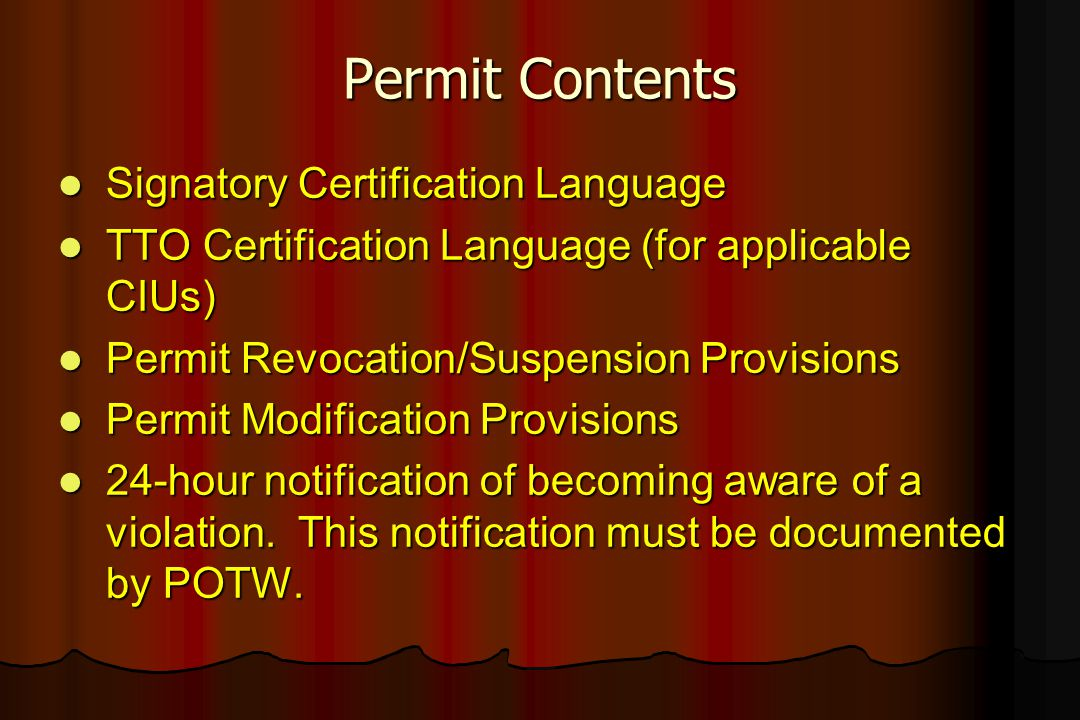 Permit Contents Signatory Certification Language