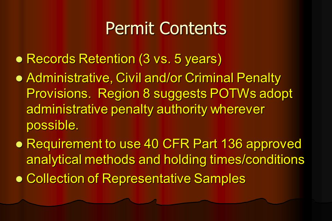 Permit Contents Records Retention (3 vs. 5 years)