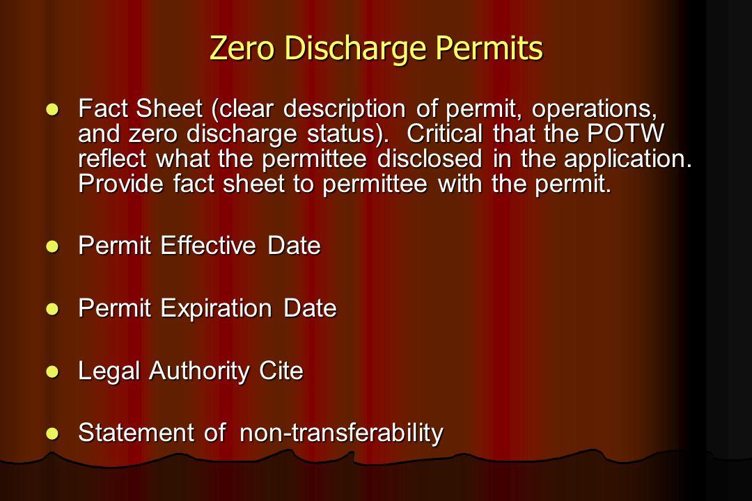 Zero Discharge Permits