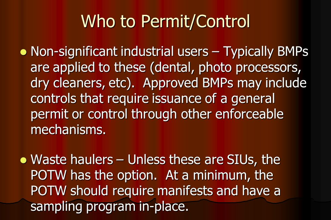 Who to Permit/Control