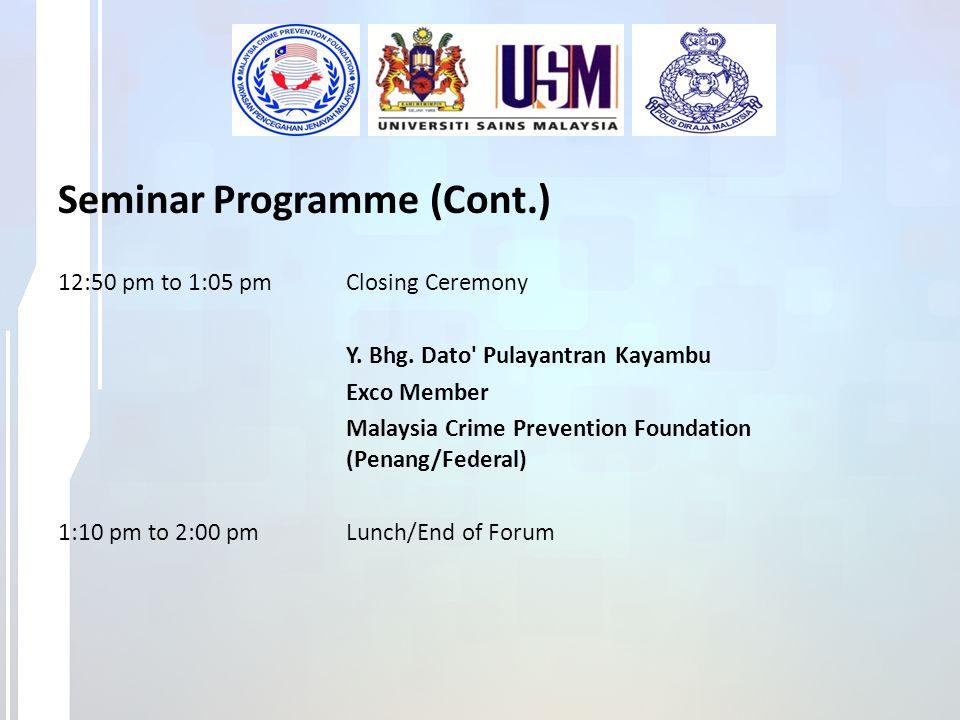 Seminar Programme (Cont.)