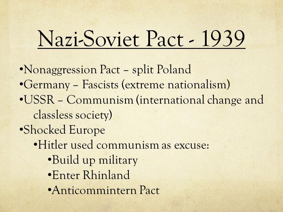Nazi-Soviet Pact - 1939 Nonaggression Pact – split Poland