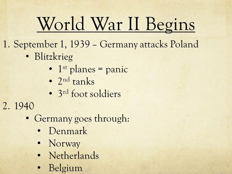 World War II Begins September 1, 1939 – Germany attacks Poland