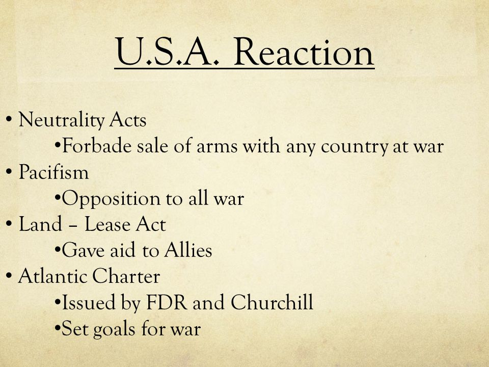 U.S.A. Reaction Neutrality Acts